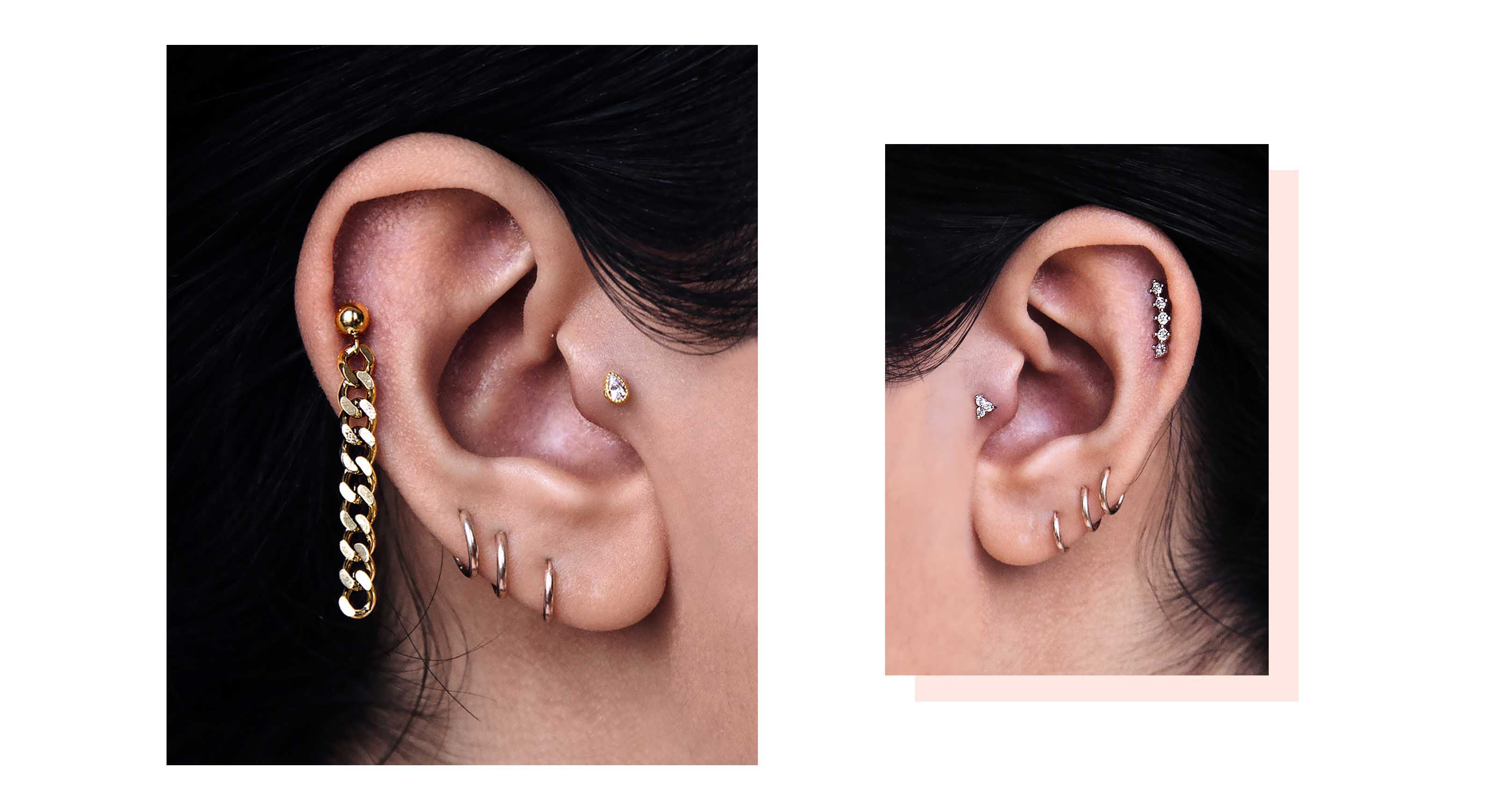 hight resolution of the curated ear is for women who wants to express their individuality it s about breaking all the rules you know about ear piercing
