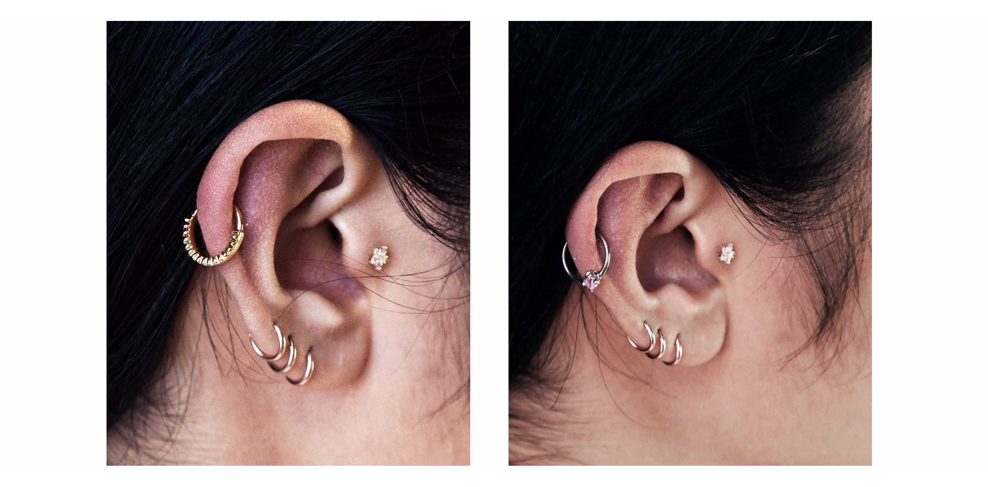 upper cartilage of the ear for an edgy finish to your ear curation stack multiple hoops and combi it with dangly lobe piercings for a look bad girl  [ 3200 x 1580 Pixel ]