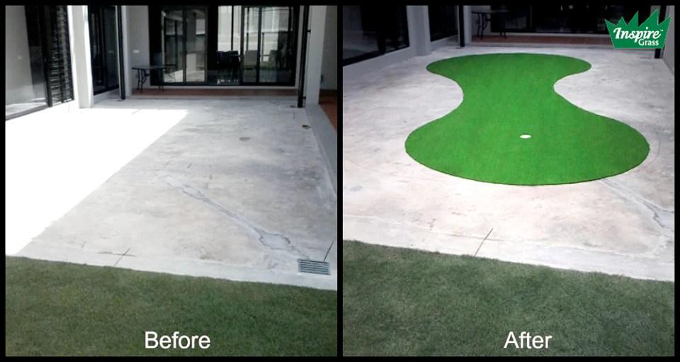 Install Artificial Grass On The Boring Concrete  Inspire