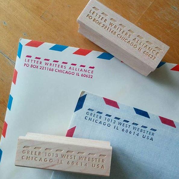 airmail custom address stamp