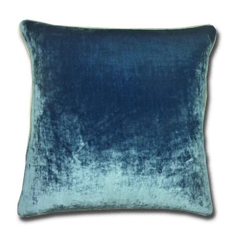 Silk Velvet China Blue Cushion Silk Piping 44x44cm
