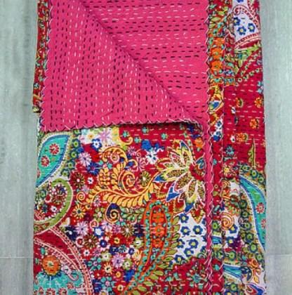 Multicolor Bohemian Pink Kantha Quilt 3 PC Boho Bed Set 2