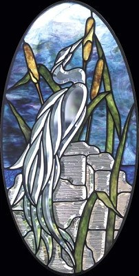 Free Stained Glass Patterns  GST Heron Facing Right Panel