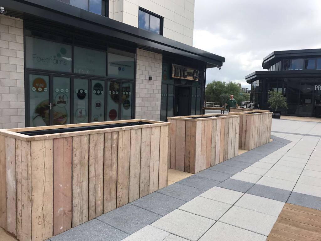gras extra large handmade industrial chic reclaimed wooden planters garden bar restaurant patio