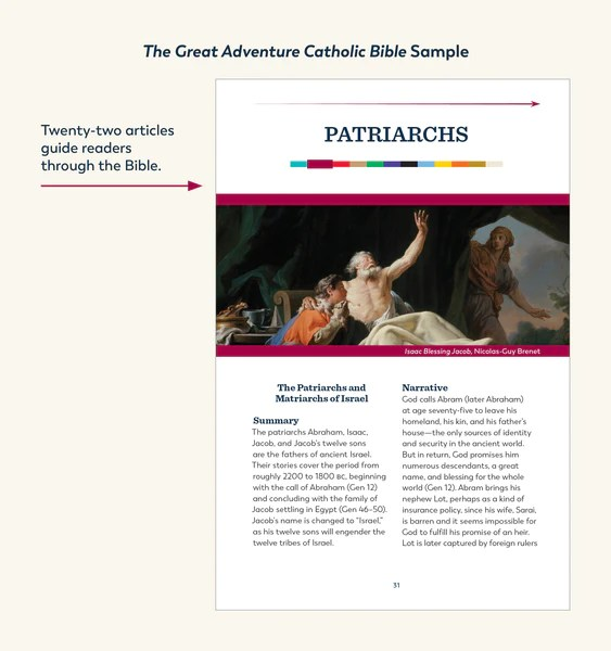 An example of one of the twenty-two articles that guide readers through the Great Adventure Catholic Bible from Jeff Cavins and Ascension. This particular example is from the time period called the Patriarchs.