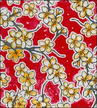 red cherry blossoms oilcloth