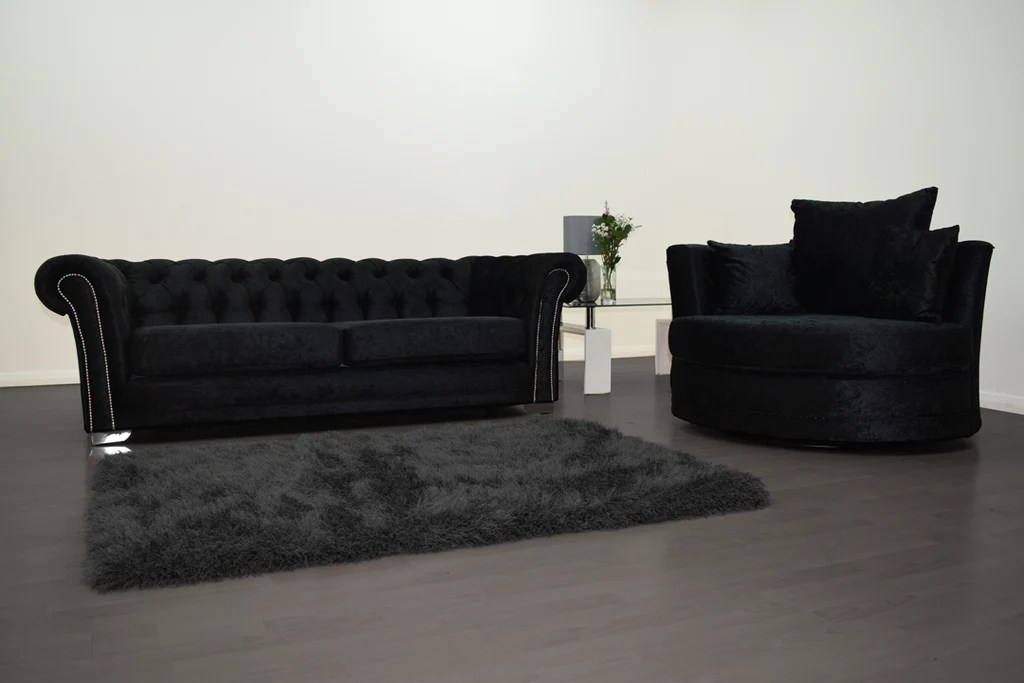 black 3 seater sofa and cuddle chair leather recliner anna chesterfield in velvet hos home mirrored furniture
