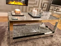 Diamond Crush 2 Tier Mirrored Coffee Table | Mirrored ...
