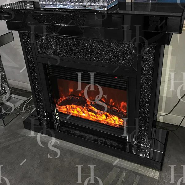 Black Mirror Crush Fireplace with Electric Fire  House of Sparkles