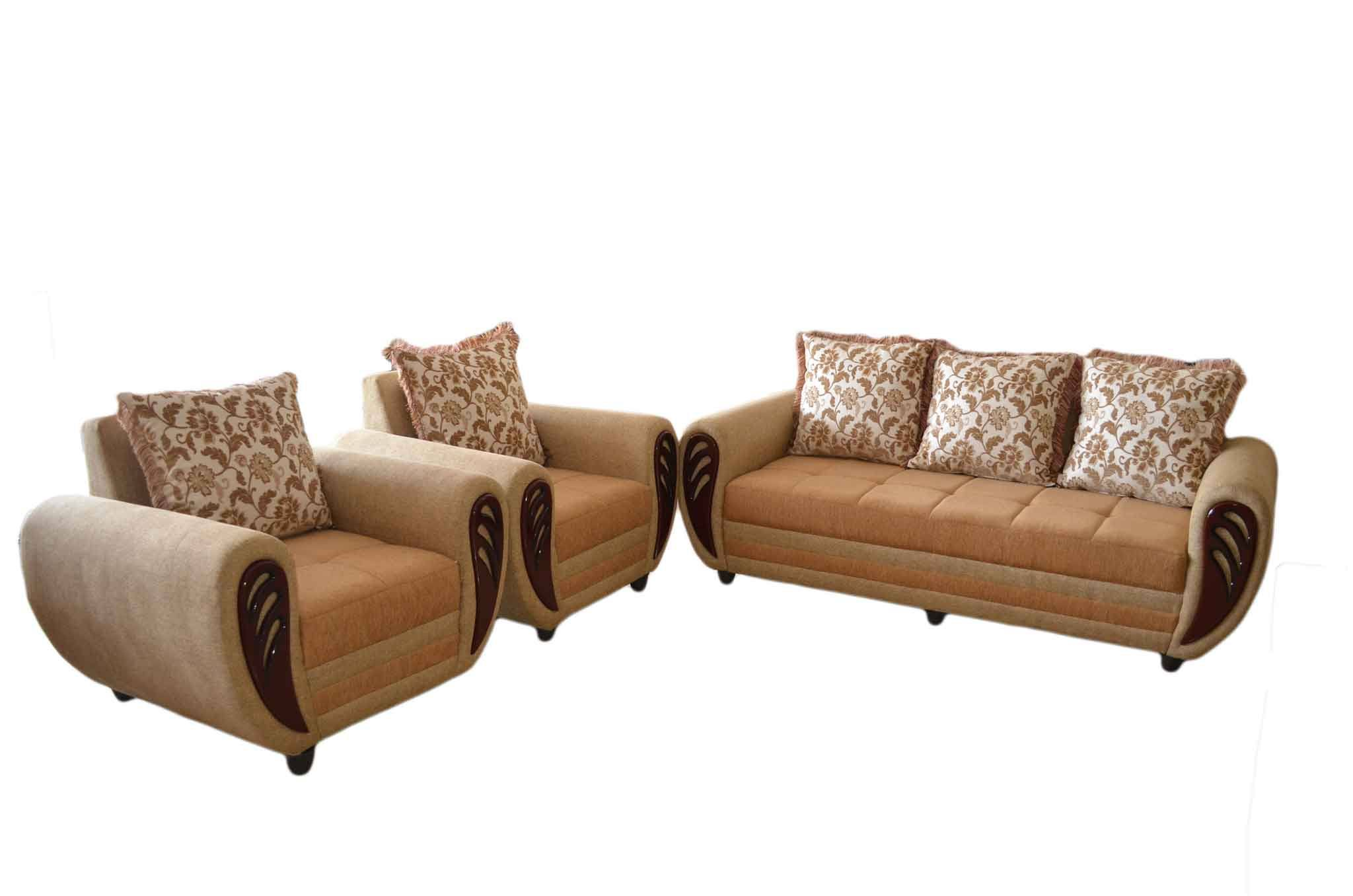 beige sofa set 2 seat reclining with cup holders kessna sets online in hyderabad sanfurn fabric 3 1