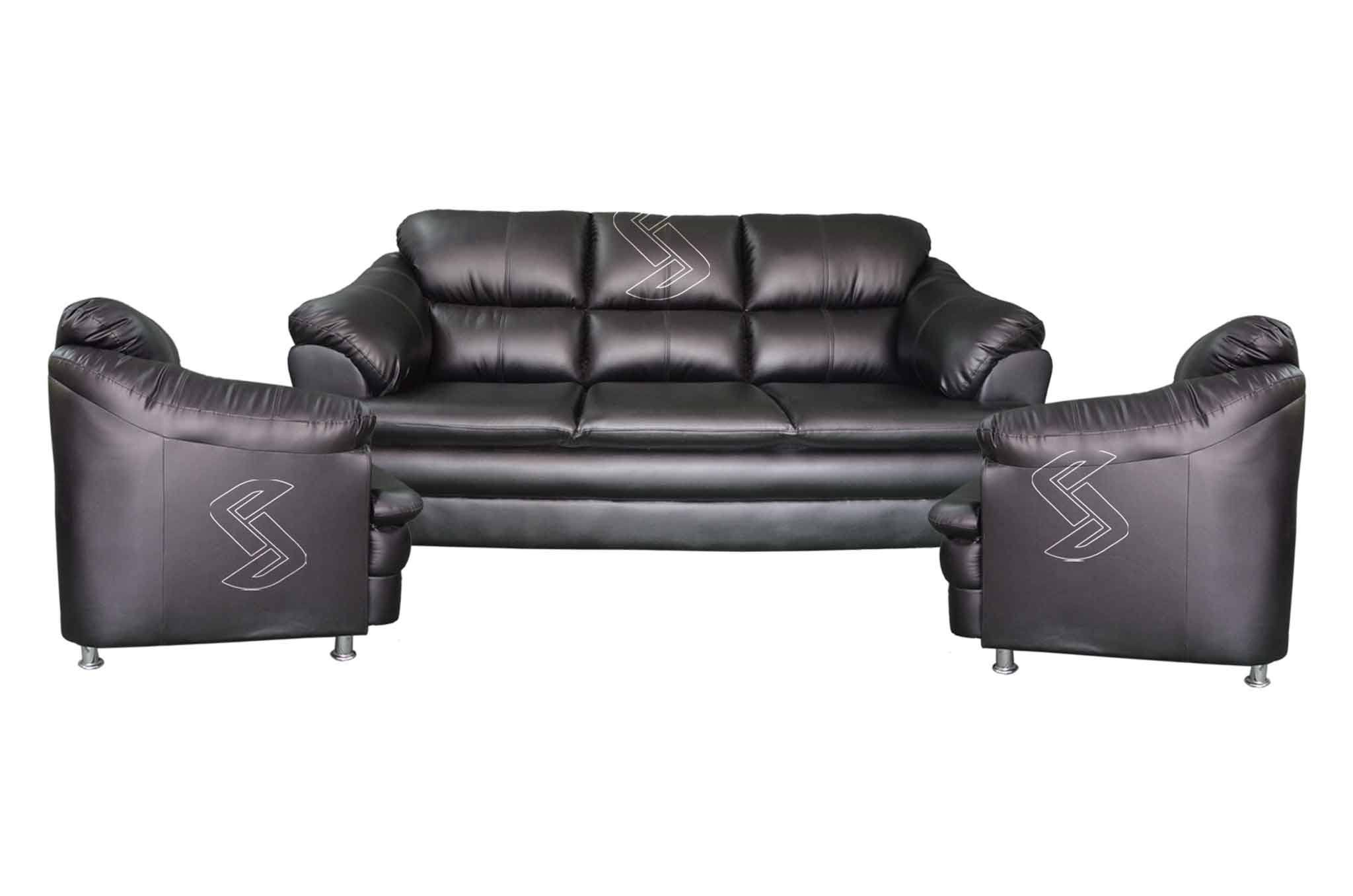 sofa sets at low price in hyderabad cara faux leather chesterfield monar set black online sanfurn leatherette 3 1