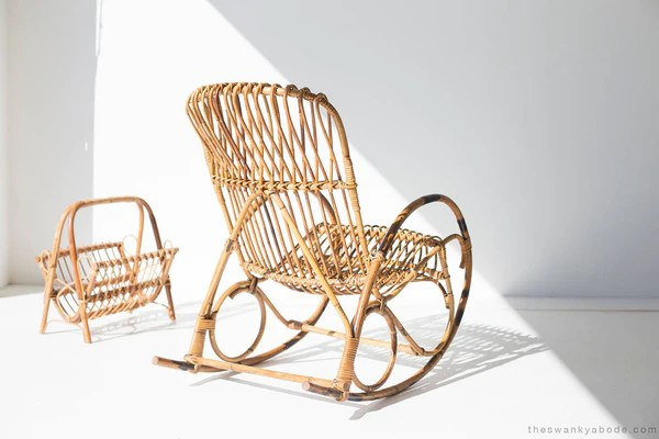 wicker rocking chairs seated massage chair for sale franco albini style and magazine rack 01911616
