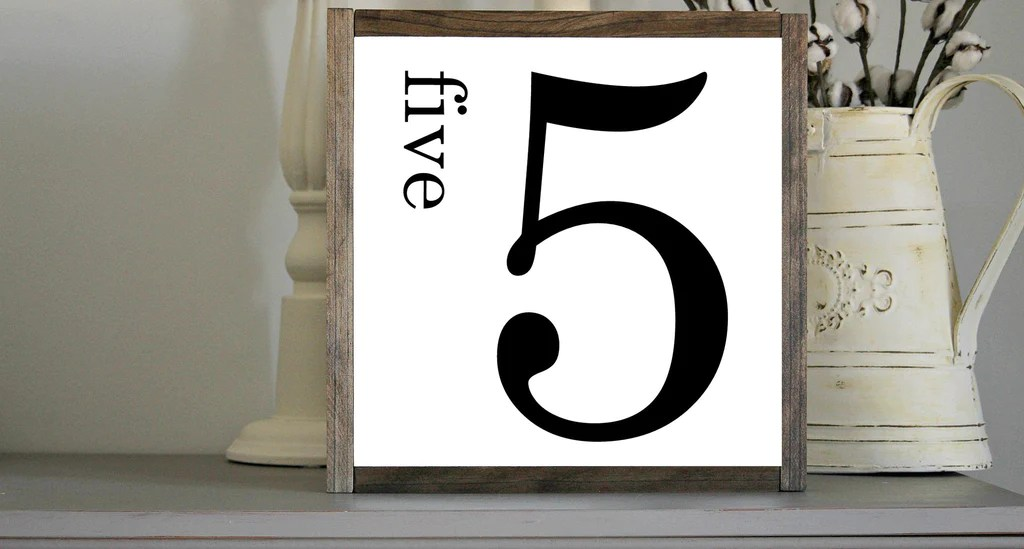 Rustic Number 5 Wall Gallery Decor With Wooden Frame Jarful House