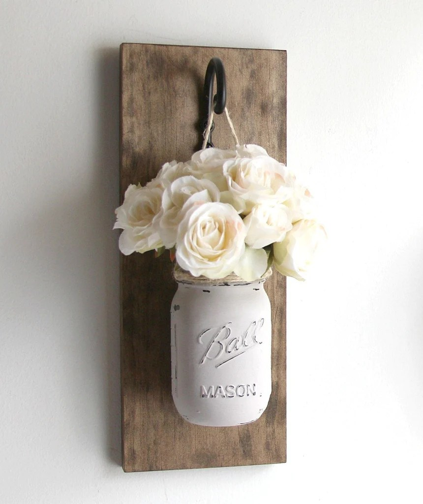Set Of 2 Rustic Wall Sconces Hanging Mason Jars Decor