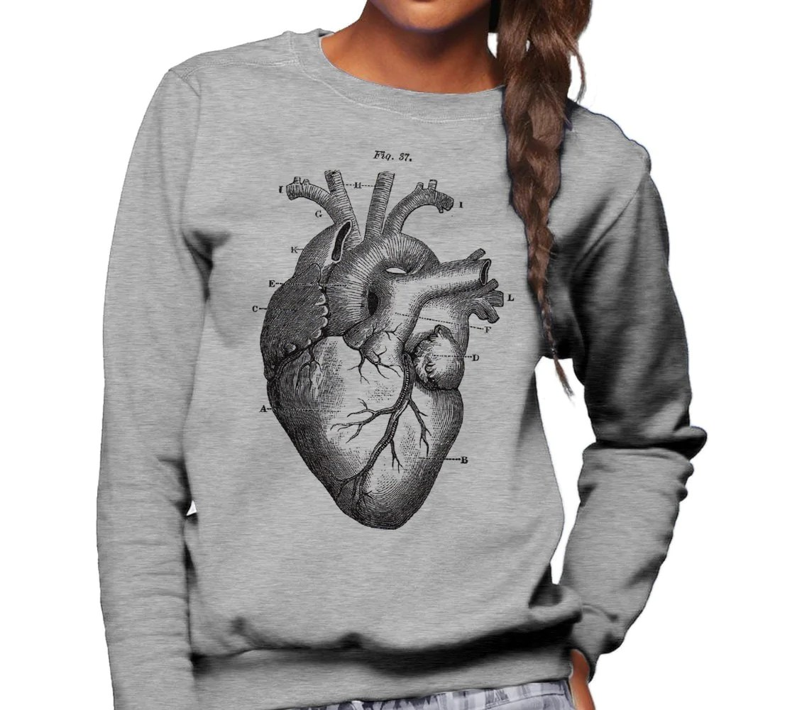 anatomical heart diagram crayfish internal anatomy detailed unisex sweatshirt boredwalk