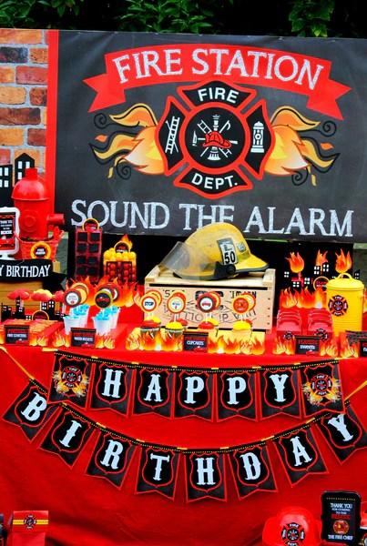 Fireman Birthday Fireman Backdrop Fire Fighter Party
