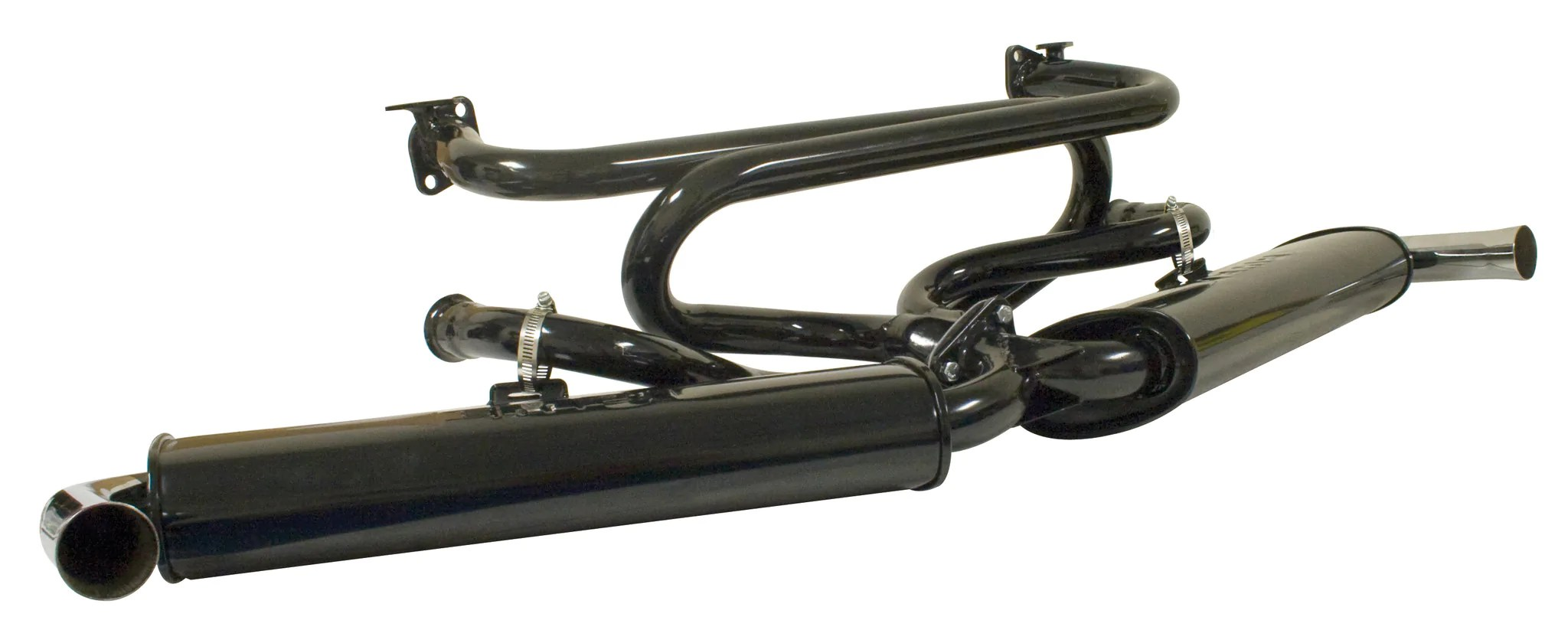 vw dual quiet pack exhaust with extractor empi 3121 ships free dubparts com [ 2048 x 840 Pixel ]