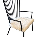 French Mid Century Modern Armchair With Lambs Wool Seat