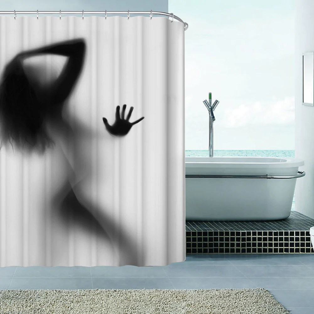 Bathroom Shower Curtain Fashion Creative Sexy Girl And Women Shadow Silhouette Bath Shower Curtain Waterproof Bathroom Curtain Home Decoration