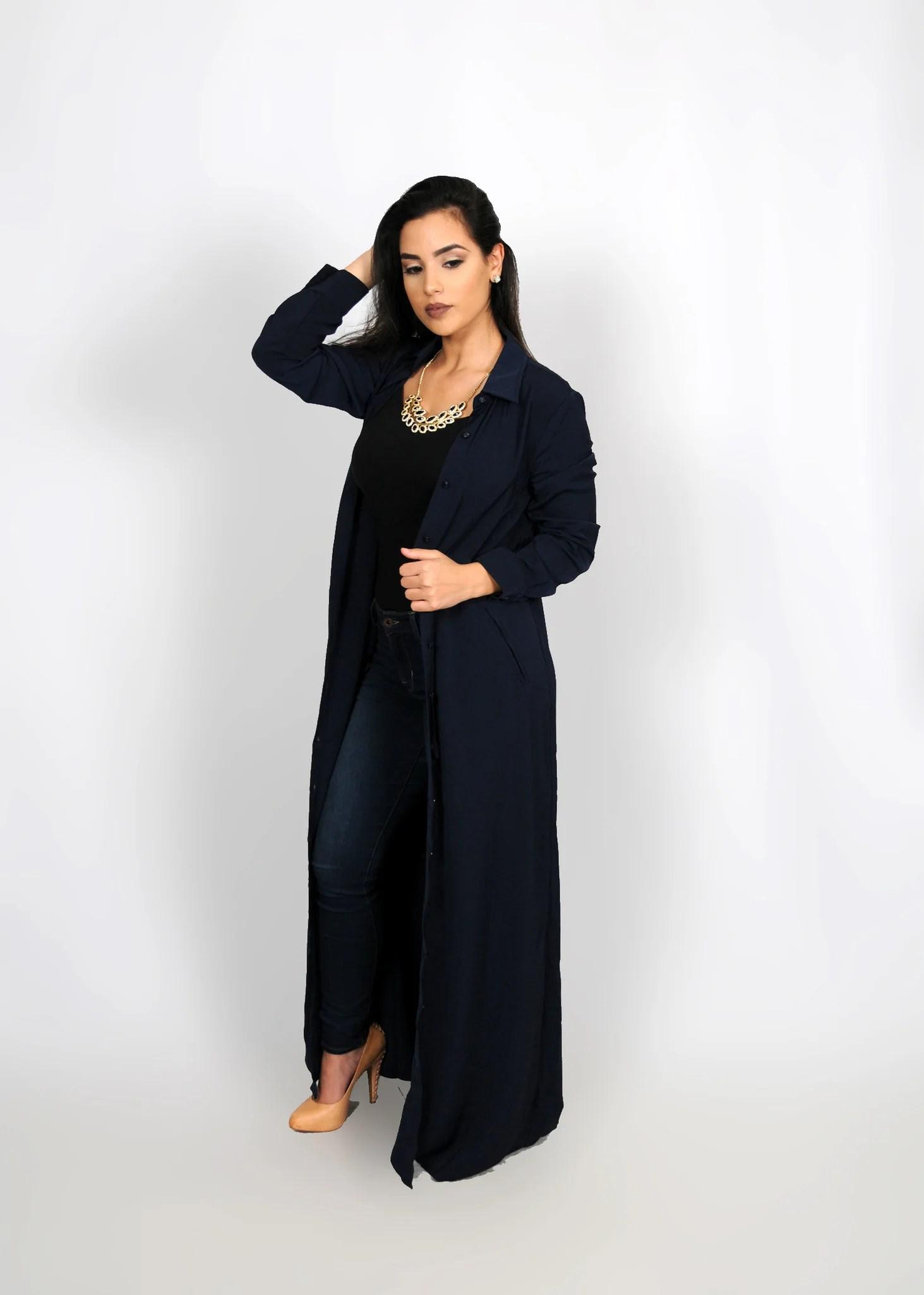Navy Blue Chiffon Maxi Skirt