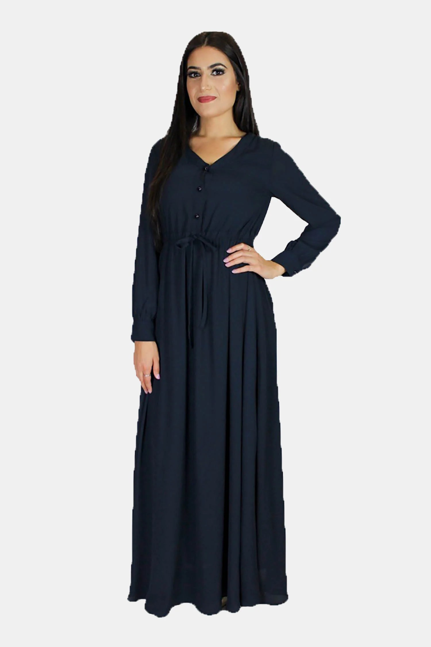 Navy Blue Chiffon Button Maxi Dress Abayati Fashion