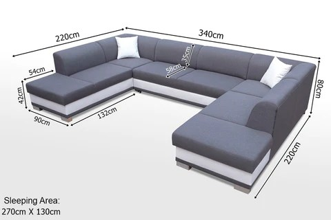 u sofa rochester arco huge elegant shaped bed with sleeping function gt 340x220cm