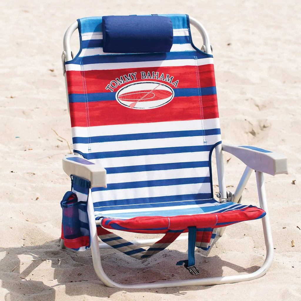tommy bahama backpack cooler chair blue brown leather dining room chairs 2017 beach with storage pouch and towel bar red