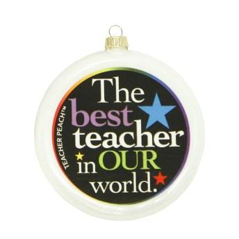 Best Teacher Glass Christmas Ornament (Assorted Colors)