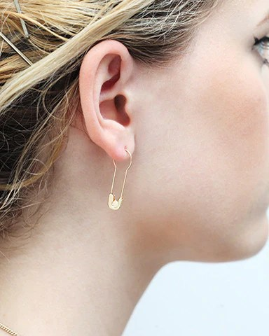 14K Gold Round Hoop Safety Pin Earring Gillian Conroy