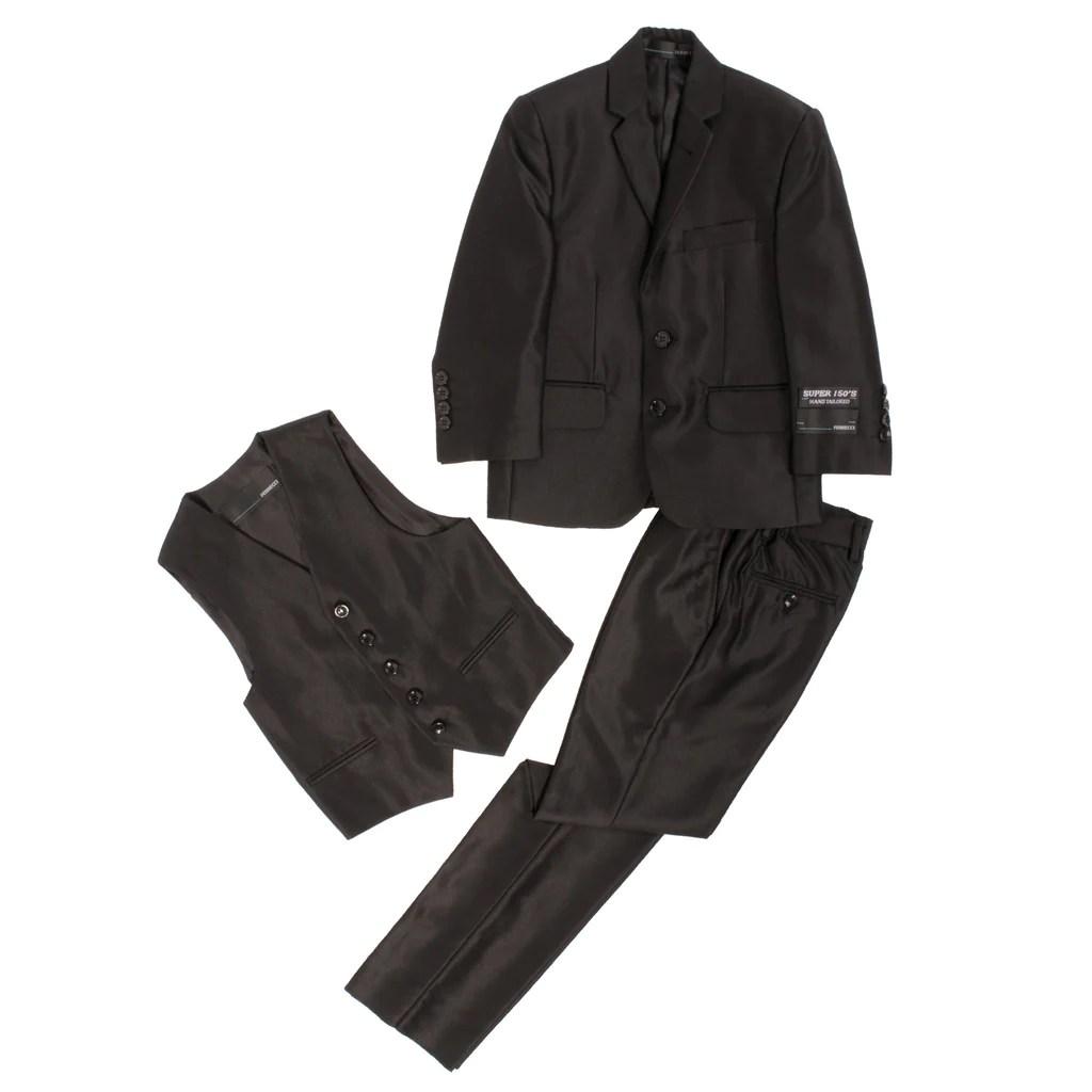 Ferrecci Usa Boys Shiny Sharkskin 3pc Vested Suit Fhyinc