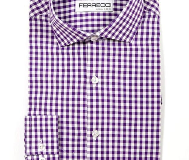 Purple Gingham Check Dress Shirt Slim Fit