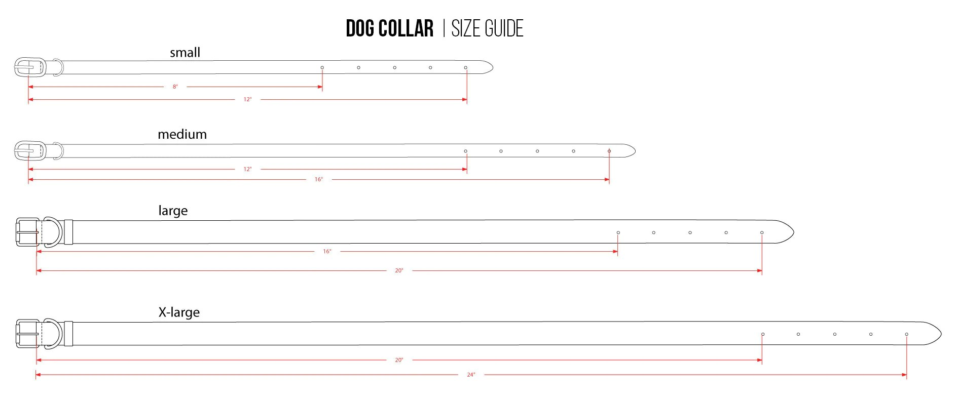 linea pelle designer dog collar size chart [ 1886 x 786 Pixel ]