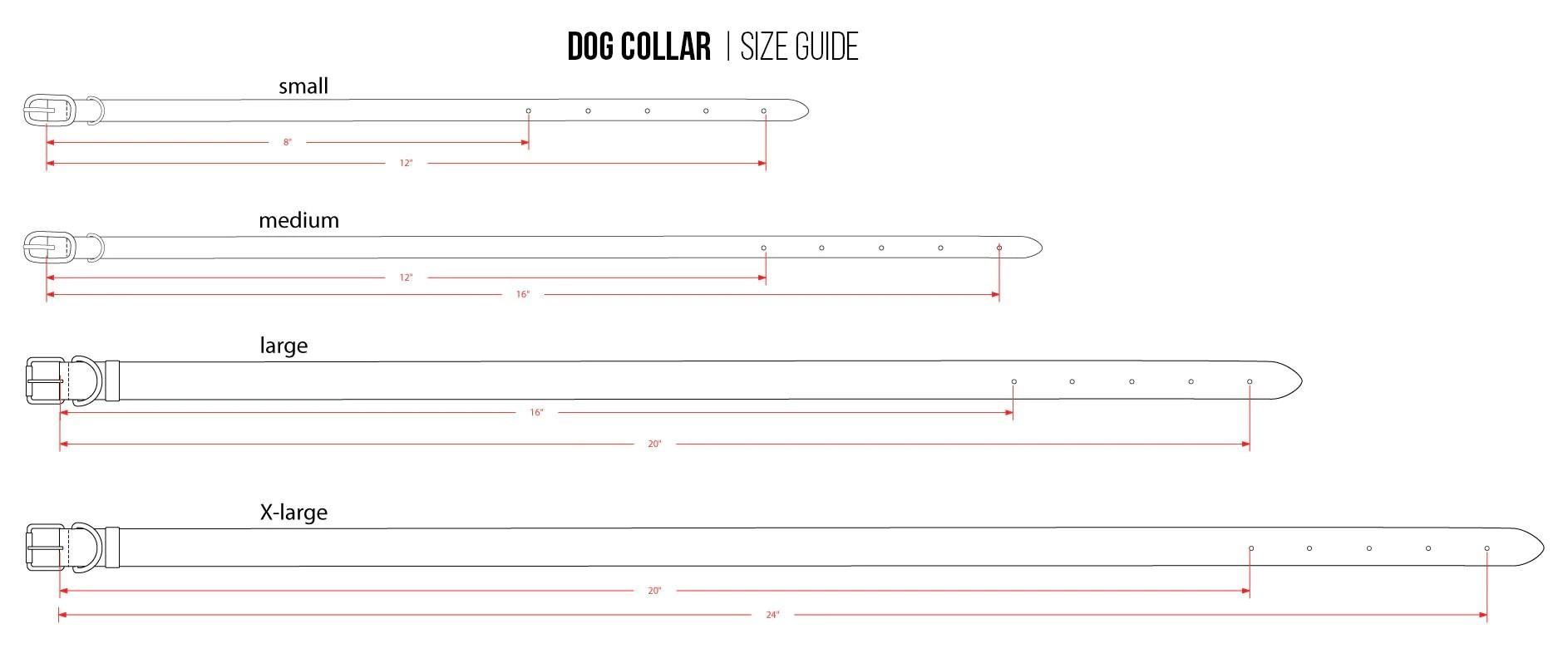 medium resolution of linea pelle designer dog collar size chart