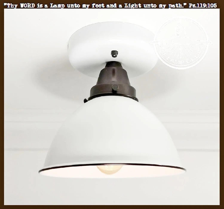 white enamel farmhouse ceiling light