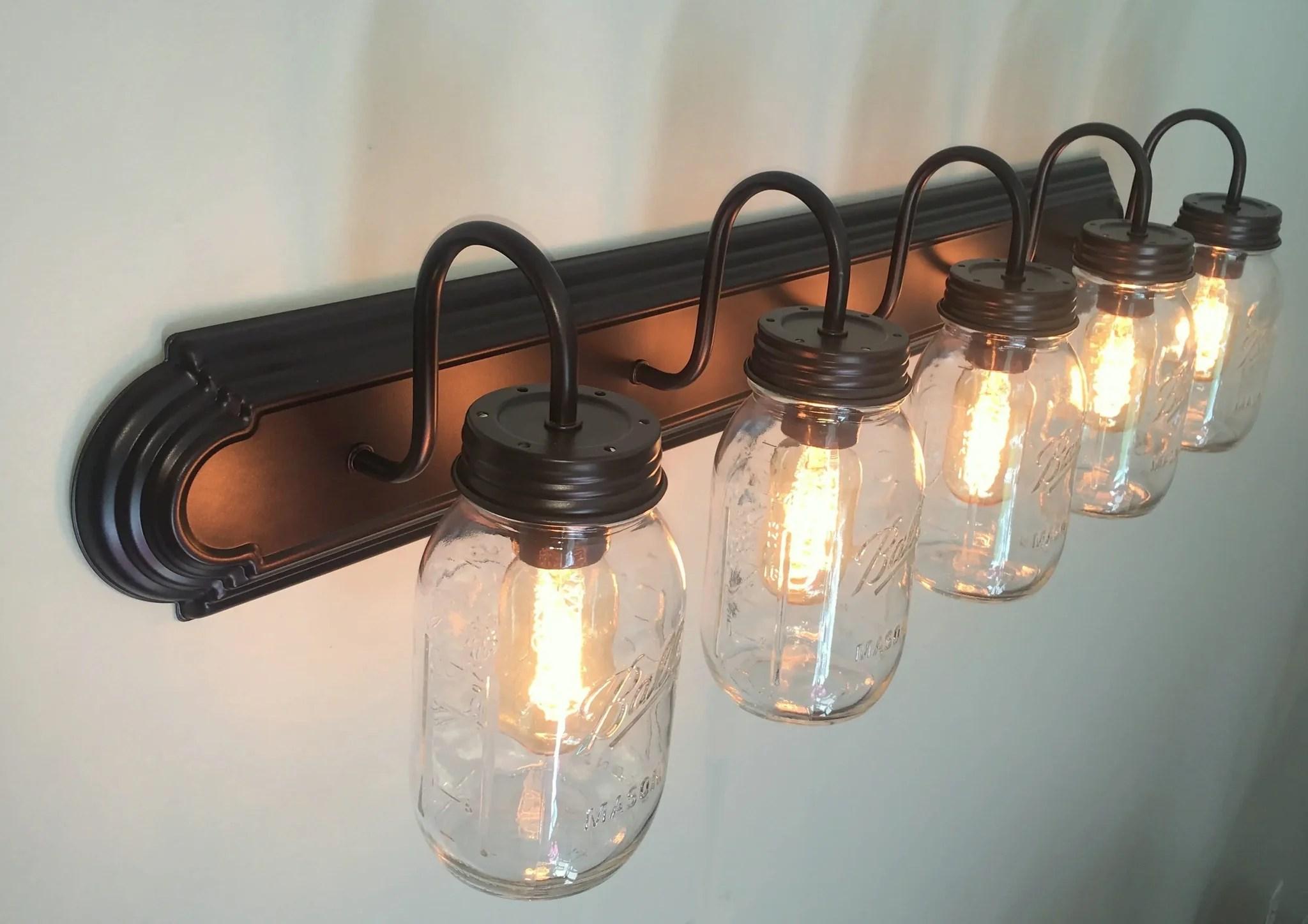 Mason Jar Bathroom Vanity 5Light Wall Sconce Fixture  The Lamp Goods
