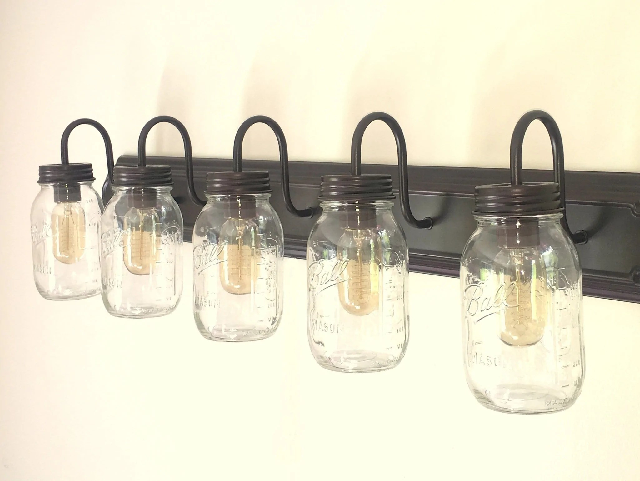 Mason Jar Bathroom Light Mason Jar Bathroom Vanity 5 Light Wall Sconce Fixture The Lamp Goods