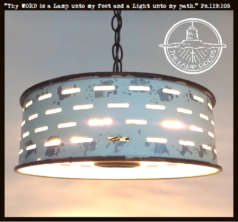 rustic farmhouse chandelier light fixture of chippy galvanized metal