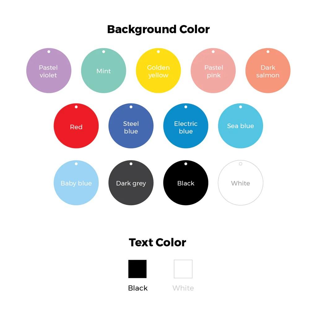 medium resolution of round type typography pet id tag