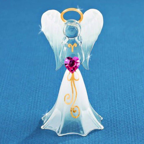 Glass Baron White Angel With Crystal Heart Figurine Ria