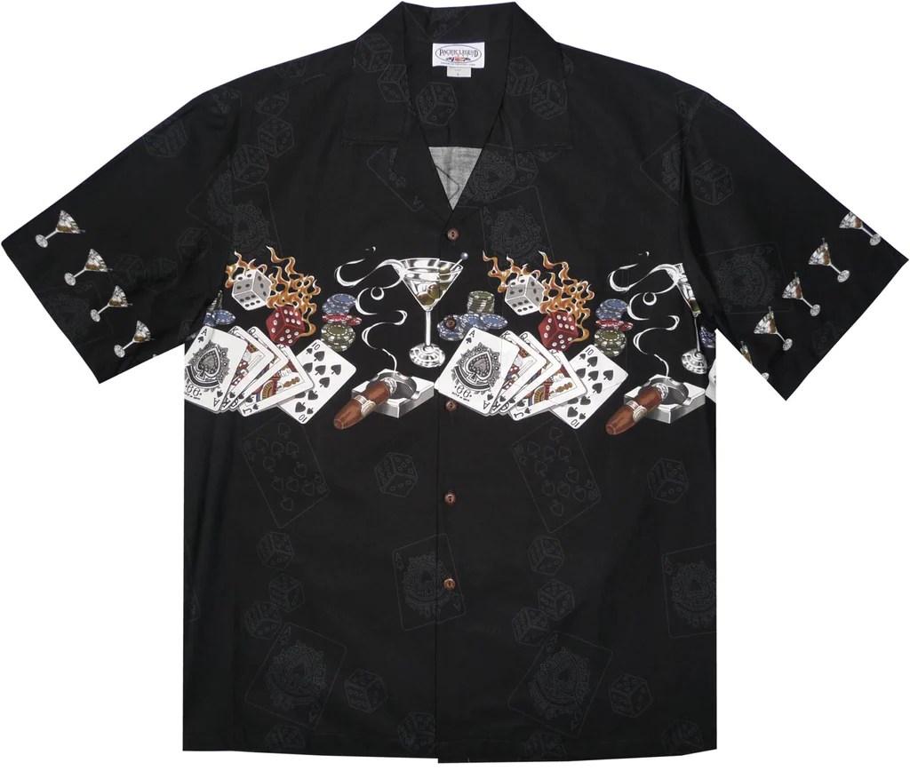 Royal Flush Black Hawaiian Border Aloha Sport Shirt