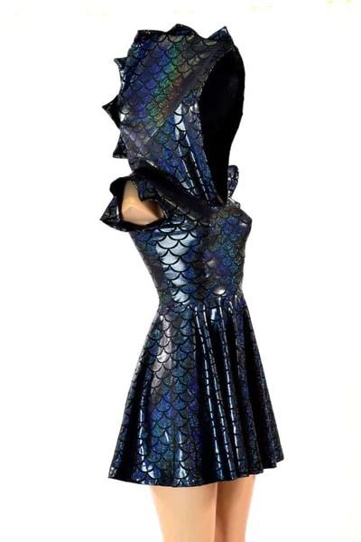 Black Dragon Flip Sleeve Skater Dress  Coquetry Clothing