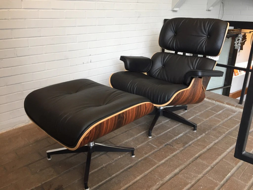Eanes Chair Eames Style Leather Lounge Chair And Ottoman Italian Leather Palisander Or Walnut