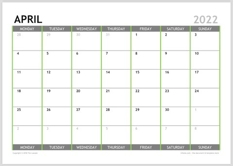 2022 Monthly Calendar Planner Download A4 or A3 (12 pages ...