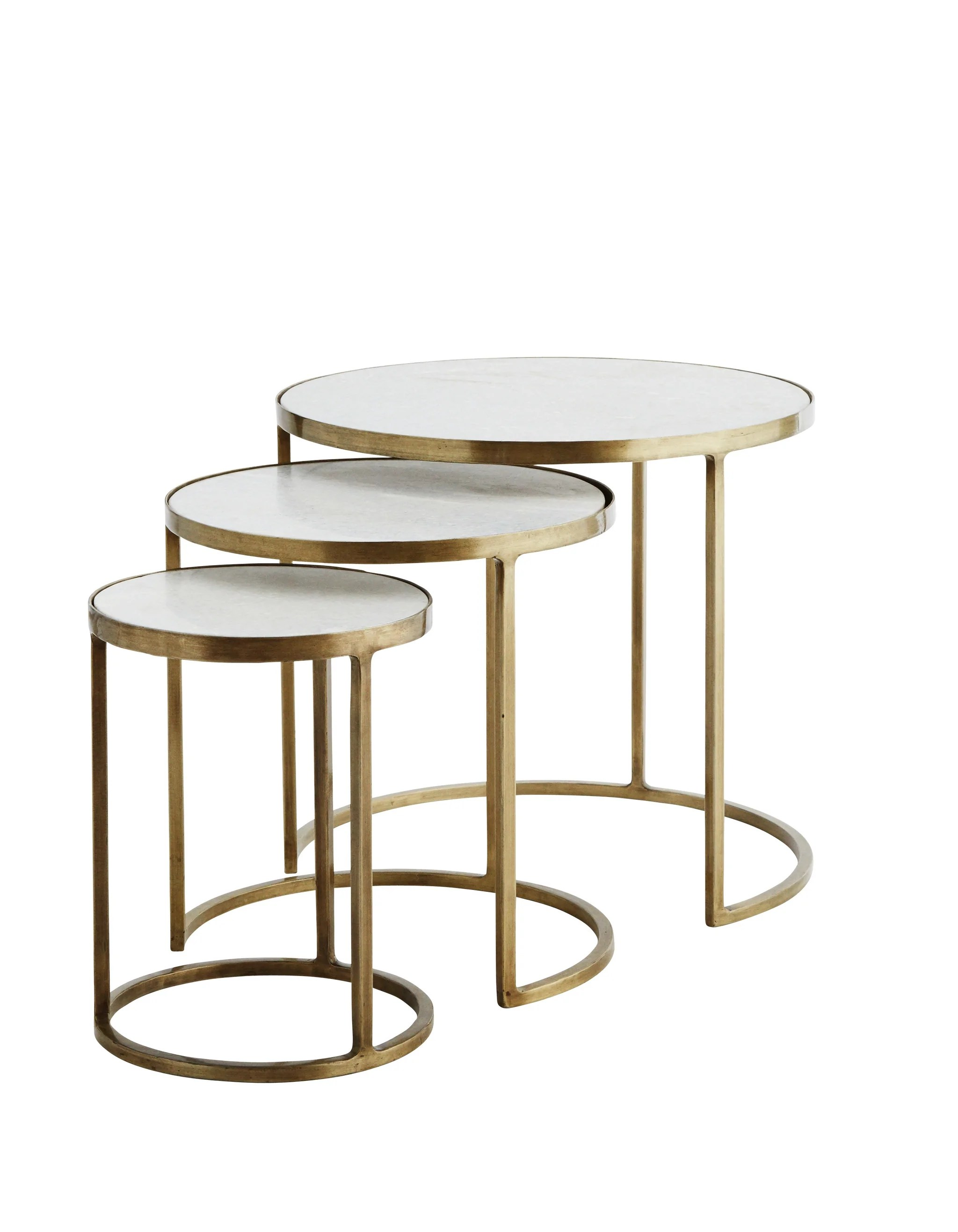 white marble and brass nesting tables pre order april