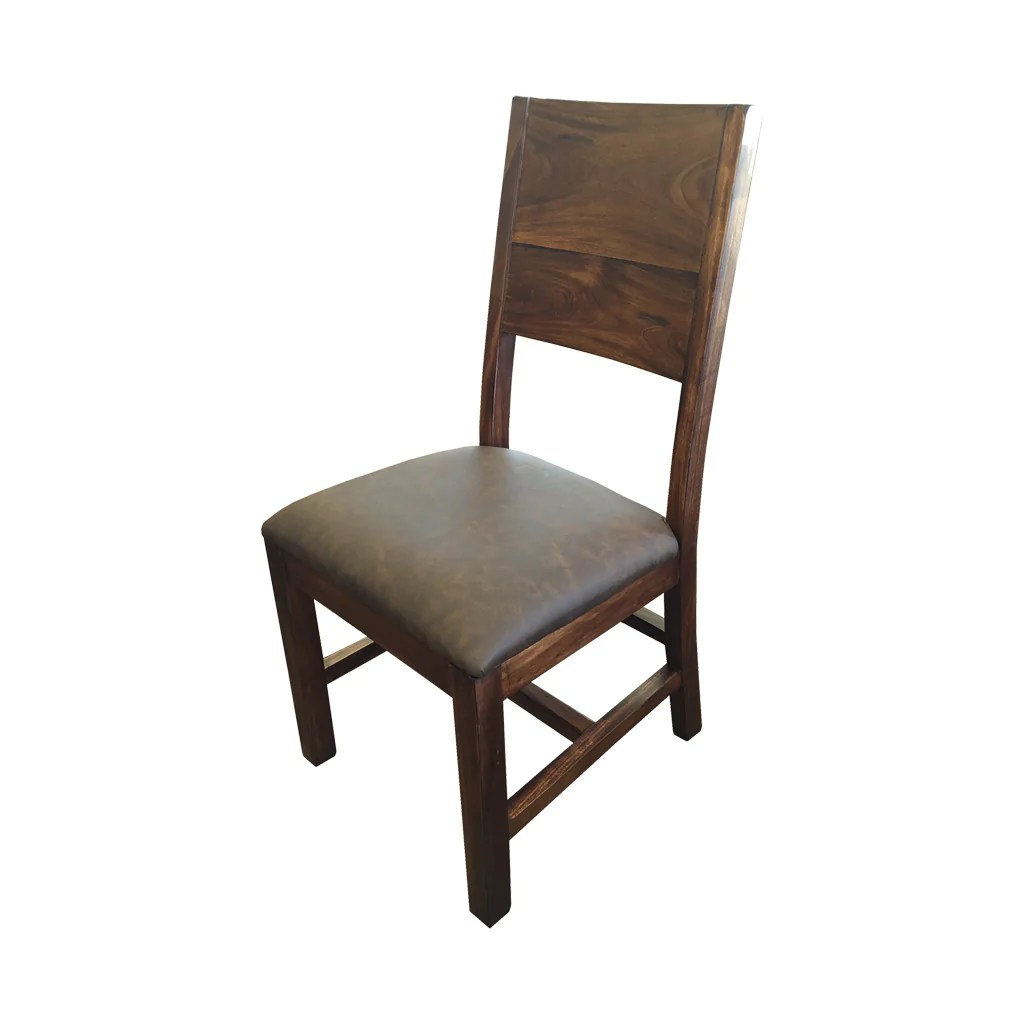 Leather And Wood Chair Ifd 865chair Parota Solid Wood Chair With Faux Leather Cushion Seat
