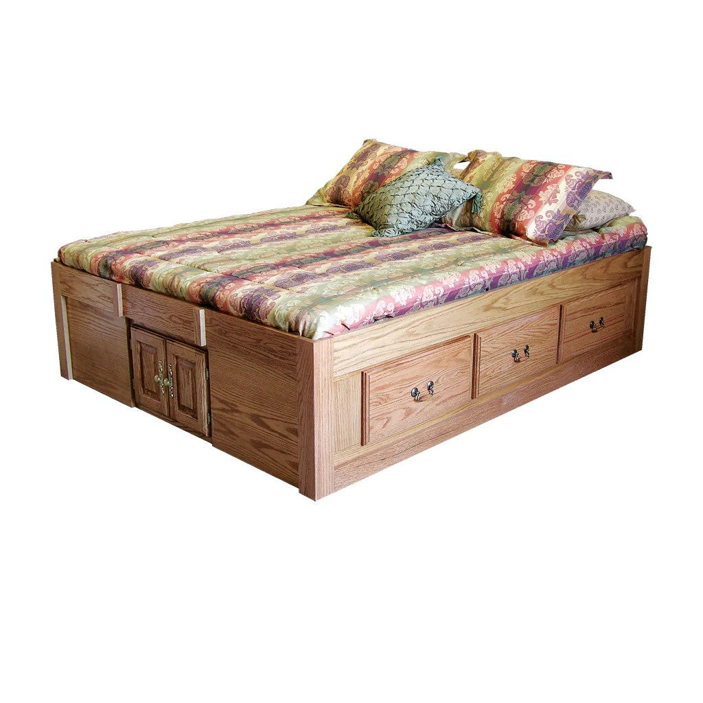 Fd 3023t Traditional Oak Pedestal Bed With 6 Drawers Cal King Size Oak For Less Furniture
