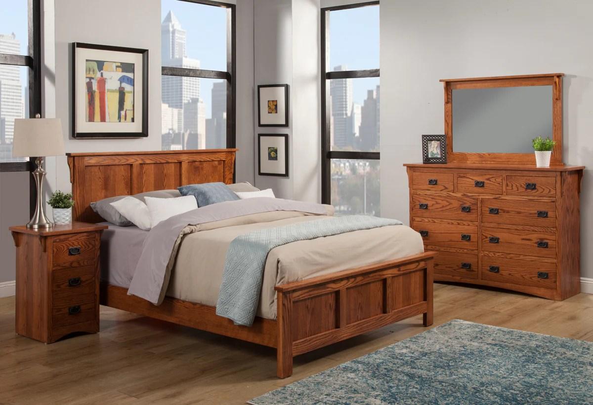 mission oak panel bed bedroom suite cal king size