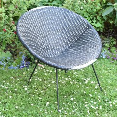 Woven Plastic Garden Chairs Antique Bistro Table And Vintage 1960s Satellite Cone Chair Black White