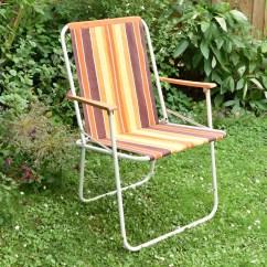 Canvas Sling Chair Papasan Metal Frame Vintage 1960s Folding Garden - Striped Orange & Brown – Pineapple Retro