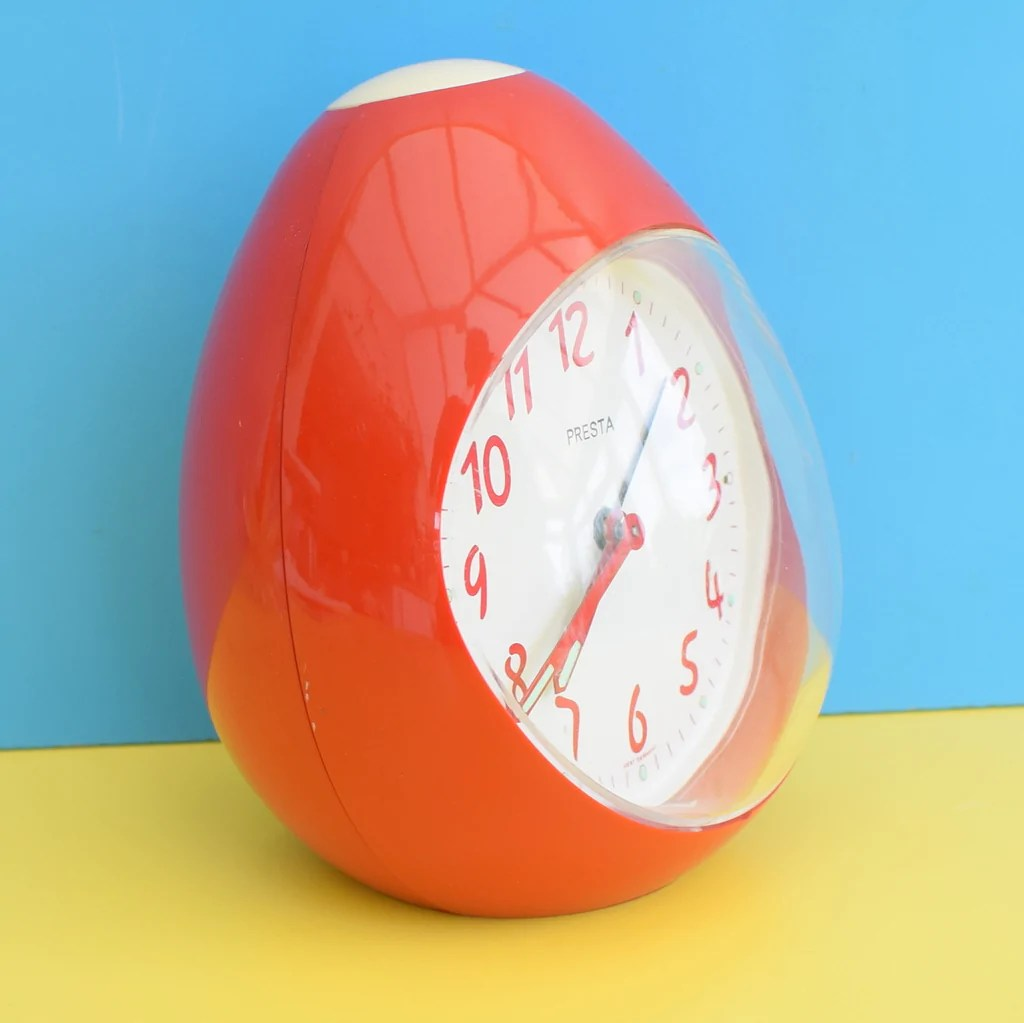 Vintage 1970s Egg Shaped Plastic Alarm Clock  Red  Pineapple Retro